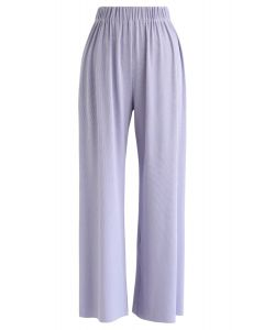 High-Waisted Ribbed Pants in Lilac