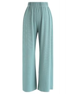 High-Waisted Ribbed Pants in Teal
