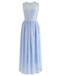 Mesh Spliced Floret Embroidered Maxi Dress in Blue