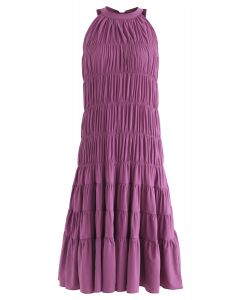 Bowknot Pleated Halter Dress in Plum