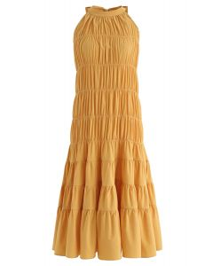 Bowknot Pleated Halter Dress in Mustard