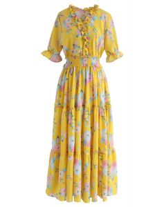 Full Blooming Floral Ruffle Wrapped Dress in Yellow