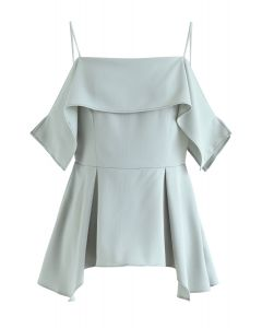 Ruffle Hi-Lo Hem Cold-Shoulder Top in Mint