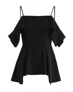 Ruffle Hi-Lo Hem Cold-Shoulder Top in Black