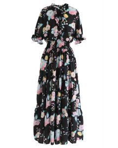 Full Blooming Floral Ruffle Wrapped Dress in Black
