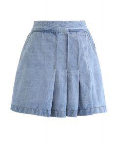 Pleated Pockets Denim Mini Skirt