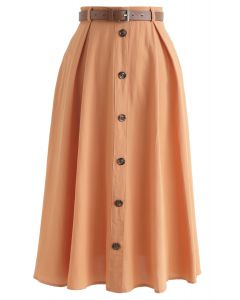 Buttoned Belted A-Line Midi Skirt in Orange