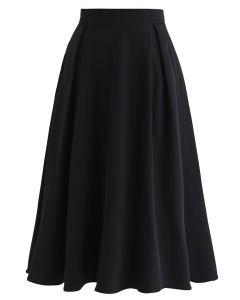 Side Zip Pleated A-Line Midi Skirt in Black
