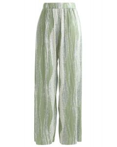 Contrast Color Print Pleated Wide-Leg Pants in Green