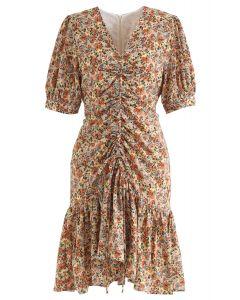 Drawstring Front Ditsy Floral Ruffle Hem Midi Dress