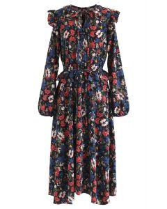 Botanic Button Front Ruffle Dress