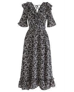 Marguerite Print V-Neck Ruffle Dress in Black