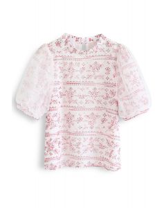 Snowflakes Embroidered Mesh Sleeves Top in Red