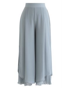 Split Pleated Hem Crop Chiffon Pants in Dusty Blue