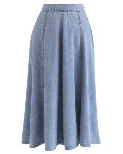 Seam Detail Denim A-Line Midi Skirt in Light Blue
