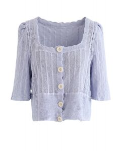 Open Knit Square Neck Button Down Crop Top in Lilac