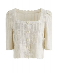 Open Knit Square Neck Button Down Crop Top in Sand