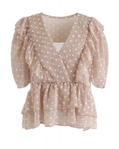 Floret Embroidery Ruffle Sheer Top in Nude Pink