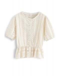 Eyelet Embroidery Crochet Peplum Top in Cream