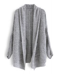 Open Front Shawl Neck Pockets Knit Cardigan