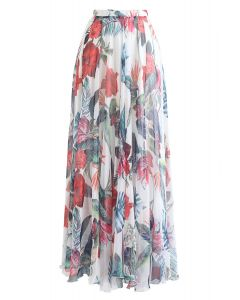 Tropical Red Floral Maxi Skirt