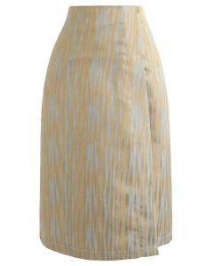 Abstract Color Blending Midi Skirt in Sand