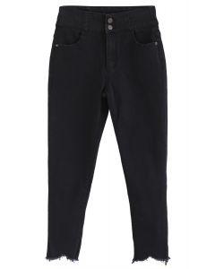 High-Waisted Frayed Hem Skinny Jeans in Black