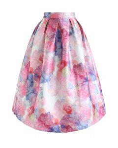 Bright Rose Print Pleated Midi Skirt