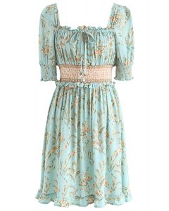 Greenery Posy Print Square Neck Shirred Dress