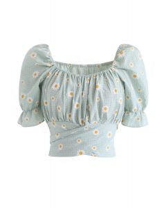 Gingham Daisy Crop Top in Pea Green