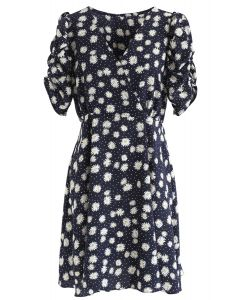 Full-Blown Daisy Print Wrapped Midi Dress in Black