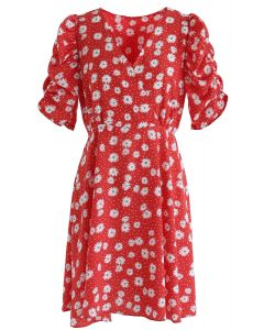 Full-Blown Daisy Print Wrapped Midi Dress in Red