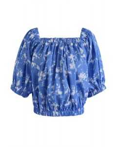 Tie-Dye Square Neck Puff Sleeves Top in Indigo