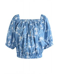 Tie-Dye Square Neck Puff Sleeves Top in Light Blue