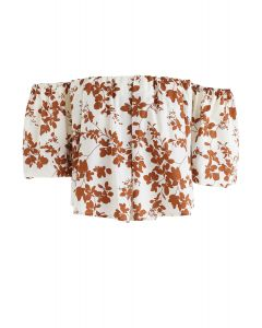 Off-Shoulder Floral Printed Hi-Lo Top in Caramel