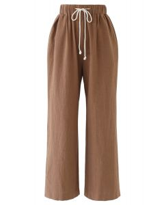 Drawstring Waist Wide-Leg Pants in Caramel