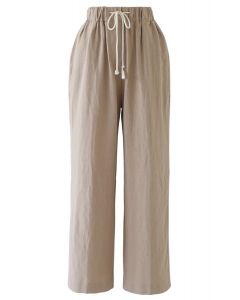 Drawstring Waist Wide-Leg Pants in Linen