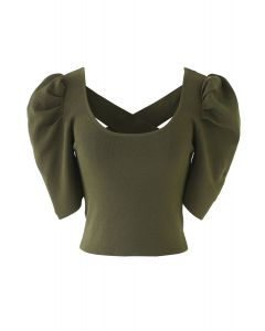Cross Back Puff Mid-Sleeve Knit Top in Army Green