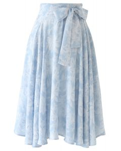 Sassy Leaves Jacquard Bowknot Waist Midi Skirt in Sky Blue