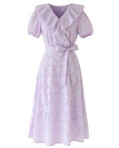 Embroidered Leaves Eyelet Ruffle Dress in Lilac
