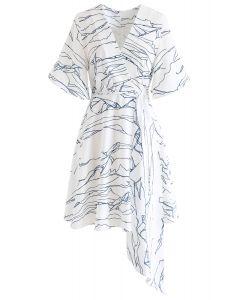 Abstract Lines Print Wrap Midi Dress