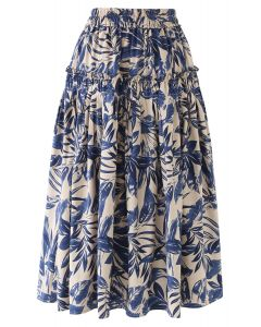 Leaves Print Ruffle Pleated Midi Skirt