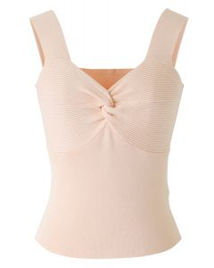 Twist Bust Ribbed Knit Cami Top in Peach
