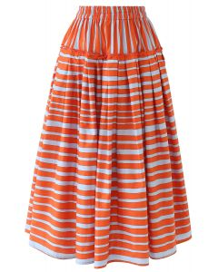 Stripes Print Ruffle Pleated Midi Skirt