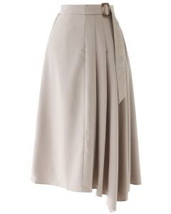 Pleated Details Belted Midi Skirt in Tan