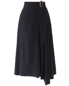 Pleated Details Belted Midi Skirt in Black