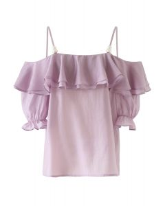 Tiered Ruffle Pearl Trim Cold-Shoulder Top in Lilac