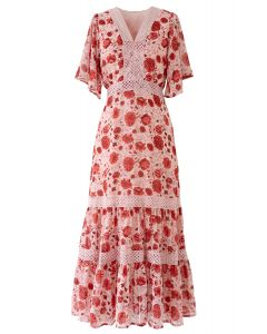 Red Floral Crochet Frilling Chiffon Dress