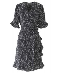 Ditsy Floral Bell Cuffs Wrap Midi Dress in Black