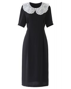 Embroidered Peter Pan Collar Black Chiffon Dress